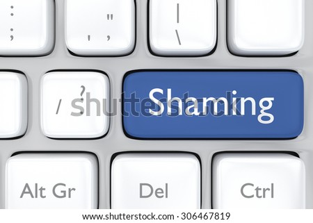 3D render illustration of social media shaming button on a keyboard
