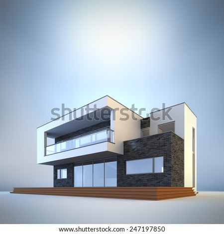 3d render illustration of template contemporary minimalist house at blue background. Empty copy space to place your text or logo. - stock photo