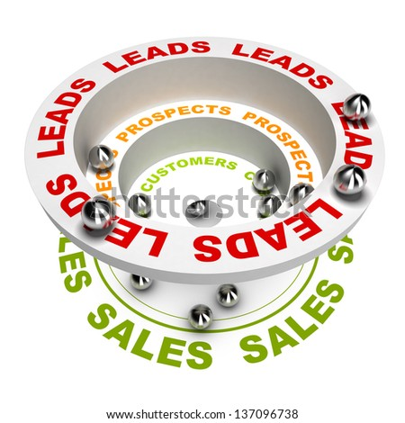 3D render illustration of the sales process or how to concert leads into sales, white background - stock photo