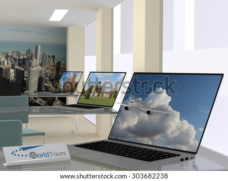 3D render illustration  of Travel agency concept with an interior view of the agency with open laptops displaying travel landscapes and one in the foreground with a jetliner exiting the screen