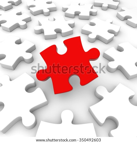 3D render illustration - Puzzle Pieces Concept
