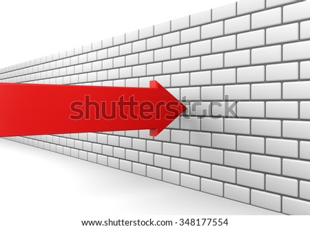 3D render illustration - Red arrow crashes into a brick wall - stock photo