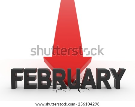 3D render illustration - Red Arrow crashes on the ground behind february text - stock photo