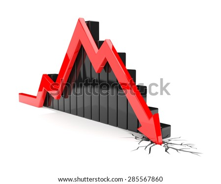 3D render illustration, red arrow crashes through the ground - stock photo