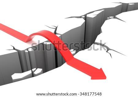 3D render illustration - Red Arrow jumps over rift - stock photo