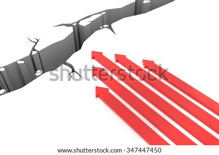 3D render illustration - Red arrows racing to a pit - stock photo