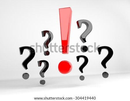 3D render illustration - red exclamation mark surrounded by question marks - stock photo