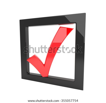 3D render illustration - red tick symbol in a black checkbox - stock photo