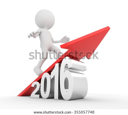 3D render illustration - White 3d person on red arrow over 2016 - stock photo