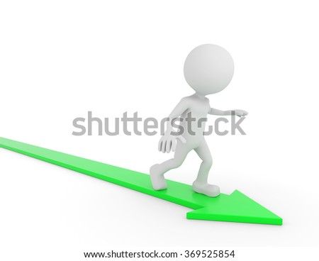 3D render illustration - White human surfing on a green arrow