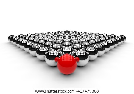 3D render image of a group of sphere representing a business Team Leader / Business Team Leader - stock photo