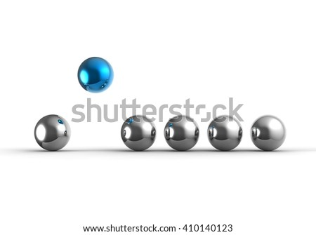 3D render image of a row of sphere representing a stand out concept / Stand out concept