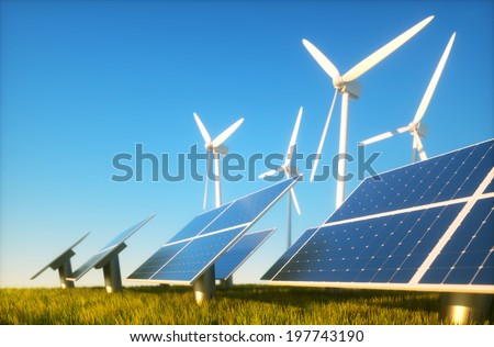 3d render image of grass field with photovoltaic and wind power plants - stock photo