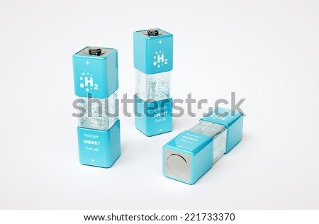3d render image of hydrogen energy fuel cell - stock photo