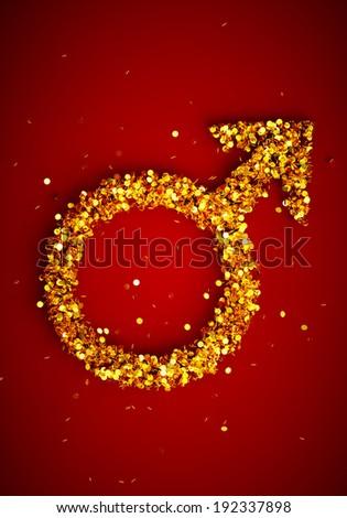 3d render image of male gender symbol wih many golden coins - stock photo