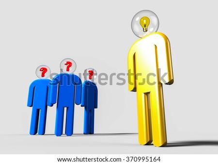 3D render image representing a bright idea concept / Mentor  - stock photo