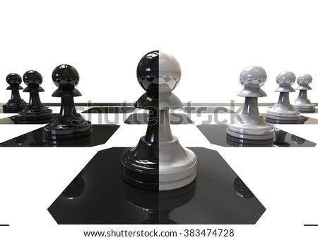 3D render image representing a chess board with different color pawns representing Leader concept / Leader concept  - stock photo