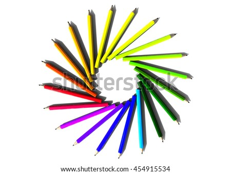 3D render image representing a circle made of colourful crayons / Color Crayons  - stock photo