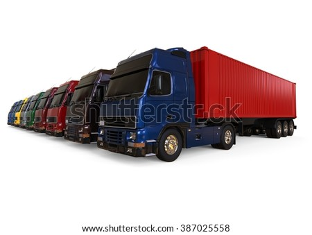 3D render image representing a container trucks fleet / Containers Truck Fleet - stock photo
