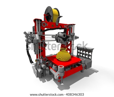 3D render image representing a 3D printer machine / 3D Printer machine