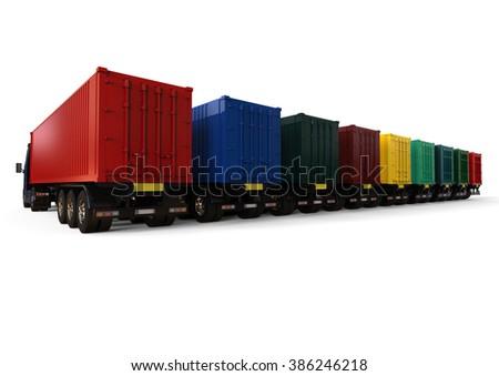 3D render image representing a fleet of container trucks / Container Trucks fleet - stock photo