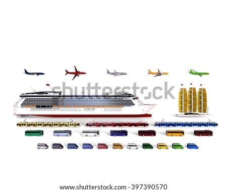 3D render image representing a fleet of travel vehicles / Travel vehicles fleet - stock photo