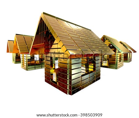 3D Render Image Representing A Group Of Houses Made Of Gold Bars /  Expensive Residential Concept