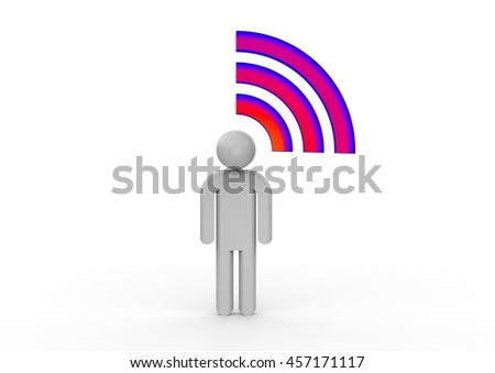 3D render image representing a human with wifi / WIFI concept