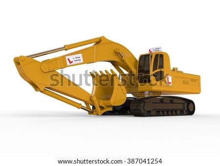 3D render image representing Excavators driving school concept / Digger Driving school concept  - stock photo