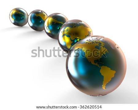 3D render image representing planet earth with gold continents / Earth Planet  - stock photo