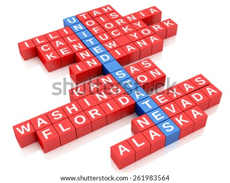 3d render image. United States country concept. Crossword with letters. Isolated white background - stock photo
