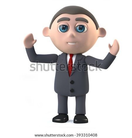 3d render in a cartoon style of a businessman cheering with his arms in the air.