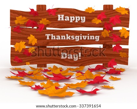 3D Render: inscription Happy Thanksgiving Day, with autumn red and yellow leaves isolated on white background - stock photo