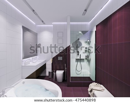3d render interior design of a bathroom with purple tiles in a modern style