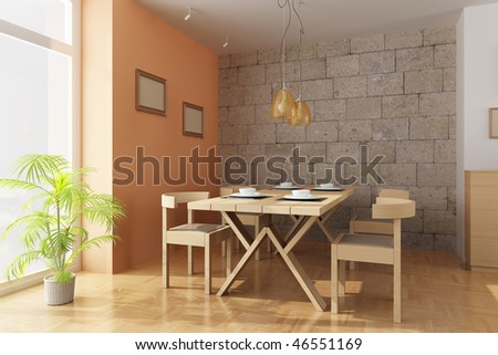 3d render interior of a modern dining room - stock photo