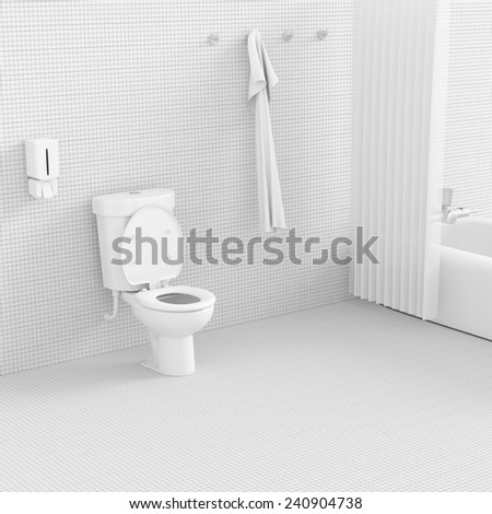 3d render interior of bathroom concept.