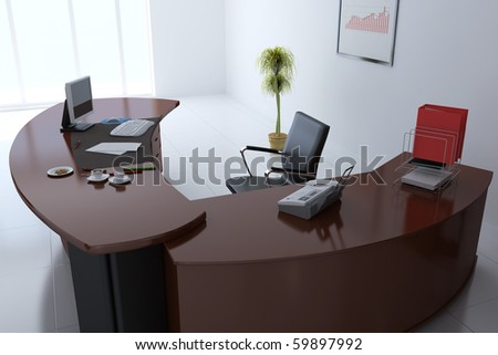 3d render interior of manager office