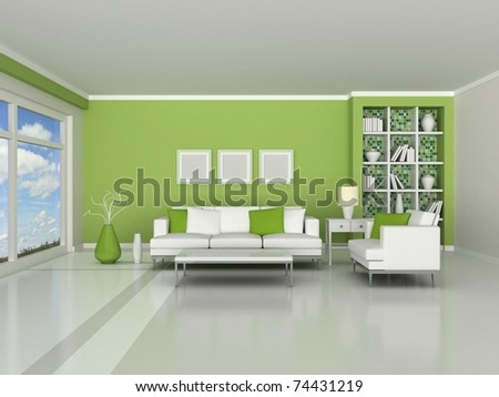 3d render interior of the modern room, green wall and white sofas - stock photo