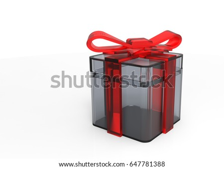 3D render isolate ribbon wrapped gift package