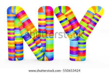 3d render letters NY made with colorful plastic fragments on a white background.