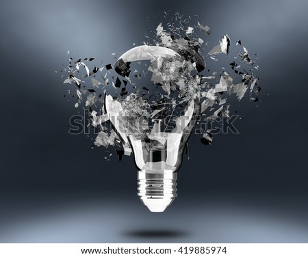 3d render Light bulb breaking - stock photo