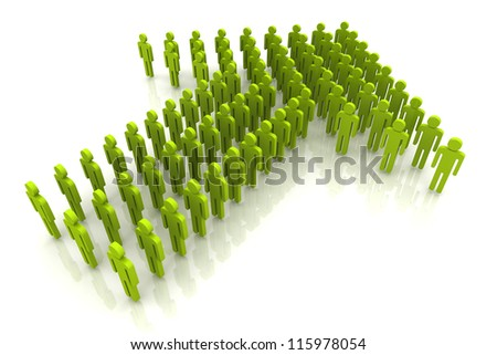 3D Render Light Green Color Human Arrow Unity and Teamwork - stock photo