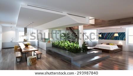 3d render living room - stock photo