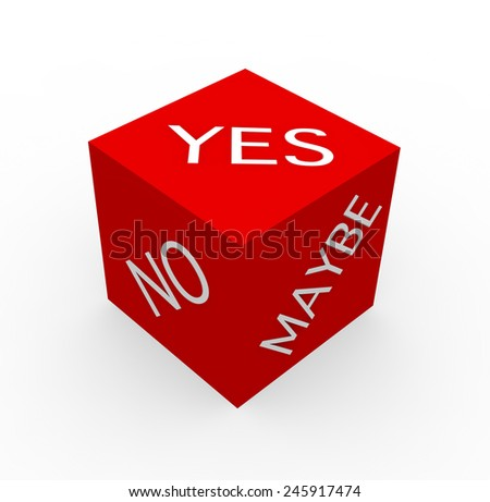 3d render Make Decisions concept with the words Yes, No, Maybe on a white background.