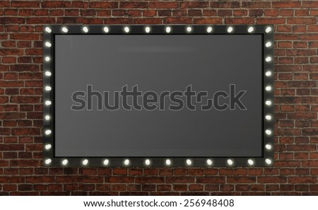 3D render Marquee light board sign on brick background - stock photo