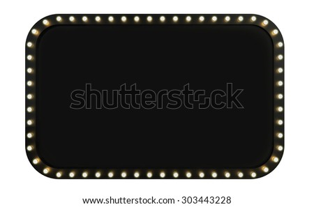 3D render Marquee light board sign on brick background isolated - stock photo