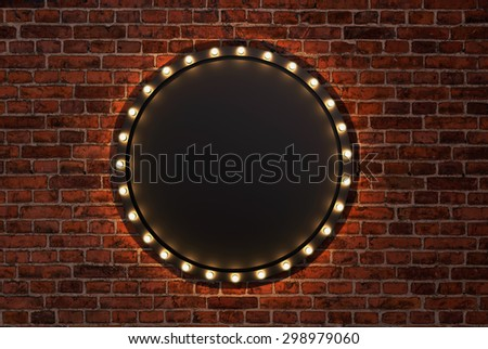 3D render Marquee light circle board sign on brick wall backgrou - stock photo