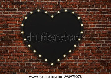 3D render Marquee light heart shape board sign on brick backgrou - stock photo