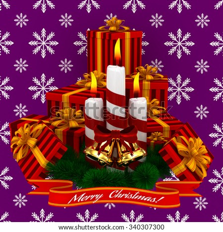 3D Render: Merry Christmas Burning candles with golden bells, christmass red gifts and sprigs of christmas tree isolated on purple snow background - stock photo