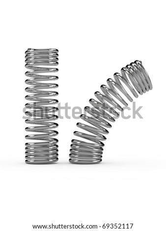 3d render metal spring over white background - stock photo